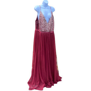 NWT BHLDN Crimson Red Silver Sequin Maxi Gown Dress Evening Wear Plus Size 20